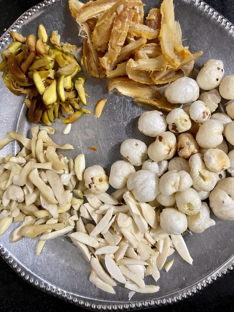Soaked and chopped dry fruits on plate