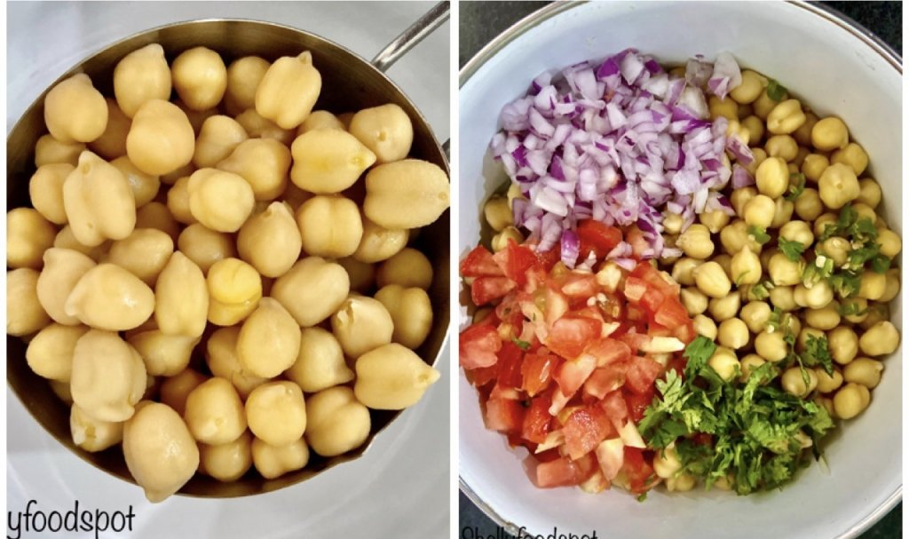 Preparing chickpea salad in a bowl