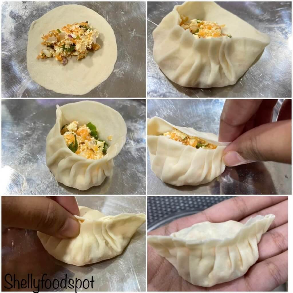 How to shape momos step by step
