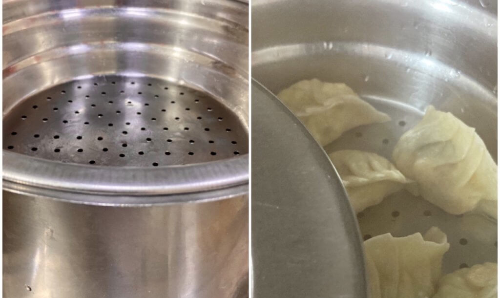 Steaming momos on steaming plate