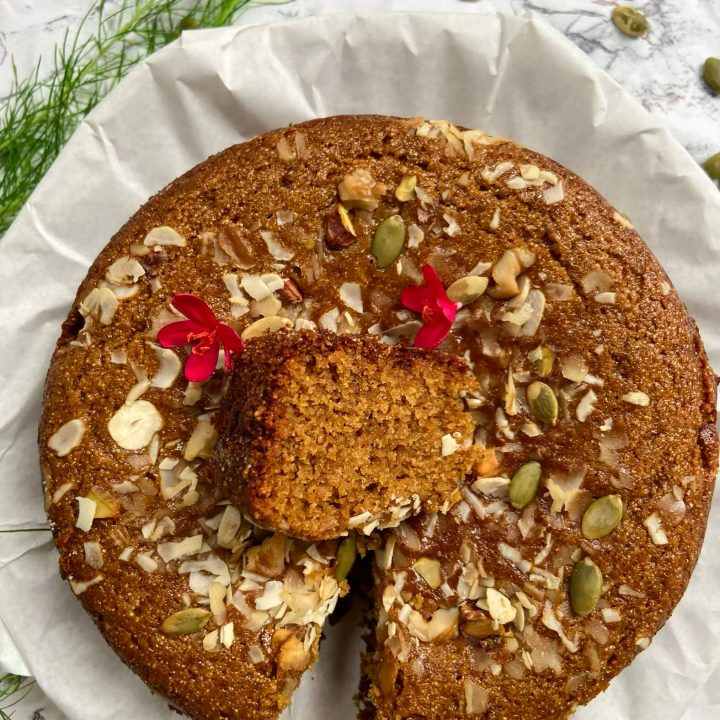 Eggless wheat cake with jaggery