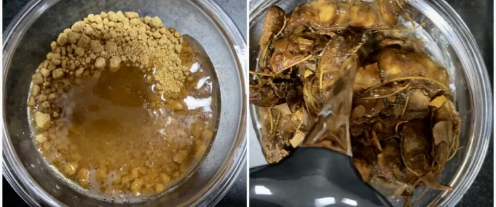 Soaking tamarind and jaggery in water